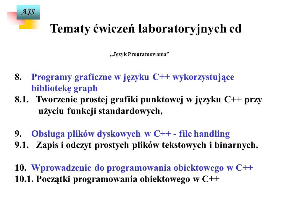 AJS Tematy ćwiczeń laboratoryjnych cd Język Programowania 6. 6.Konstruowanie funkcji w języku C++ 6.1. Programowanie własnych funkcji w języku C++, 6.
