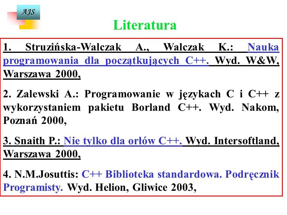 AJS Autorami pierwszego standardu języka C są Kernighan i Ritchie Bjarne Stroustrup z Laboratorium Bella firmy AT&T jest twórcą C++ - początek lat 80