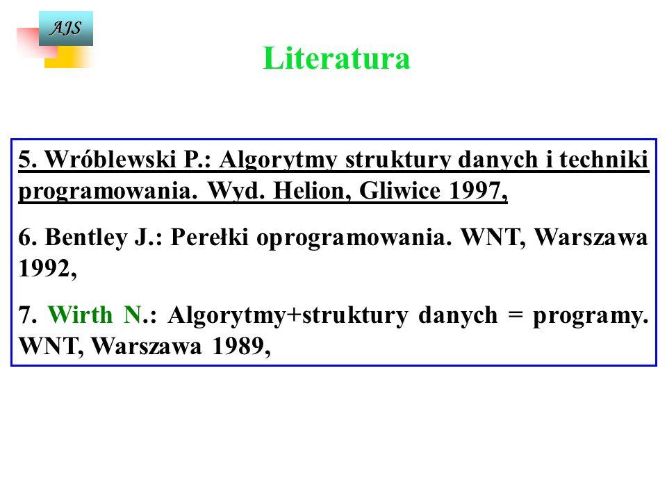 AJS 1. Struzińska-Walczak A., Walczak K.: Nauka programowania dla początkujących C++. Wyd. W&W, Warszawa 2000, 2. Zalewski A.: Programowanie w językac