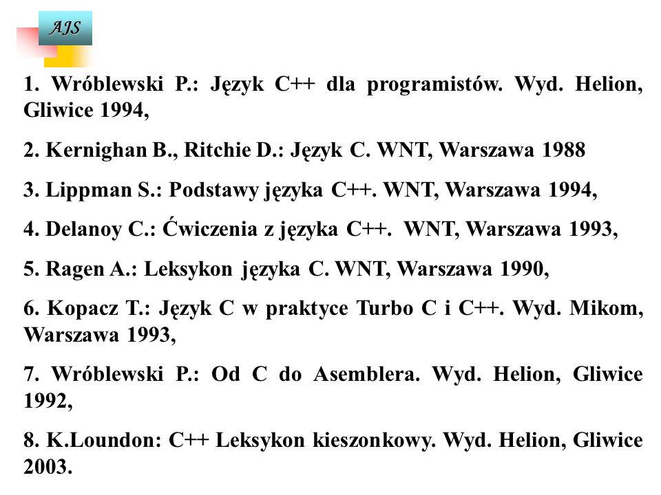 AJS 5. Wróblewski P.: Algorytmy struktury danych i techniki programowania. Wyd. Helion, Gliwice 1997, 6. Bentley J.: Perełki oprogramowania. WNT, Wars