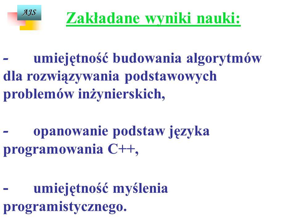 AJS Tematy ćwiczeń laboratoryjnych cd Język Programowania 8.