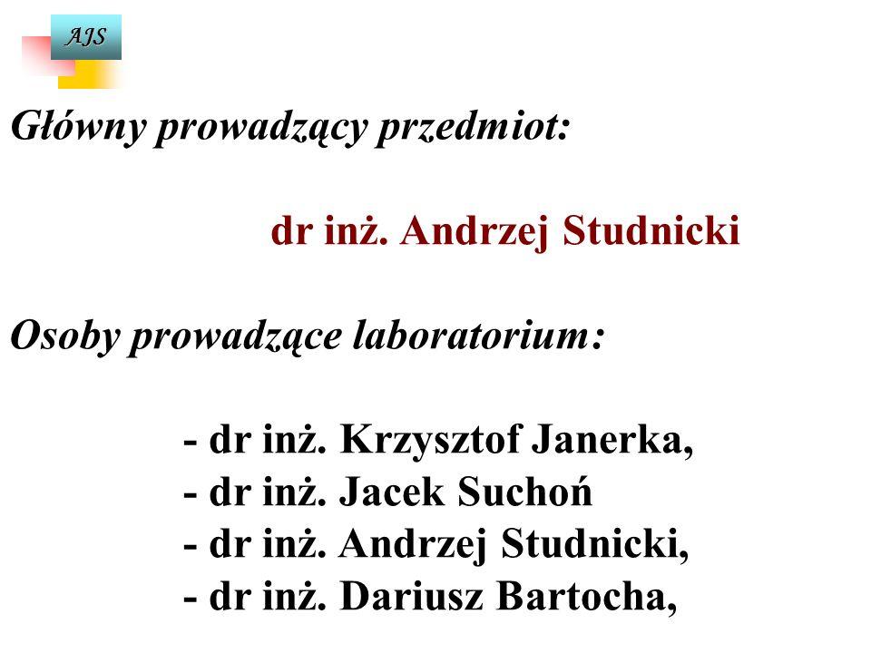 AJS Główny prowadzący przedmiot: dr inż.Andrzej Studnicki Osoby prowadzące laboratorium: - dr inż.