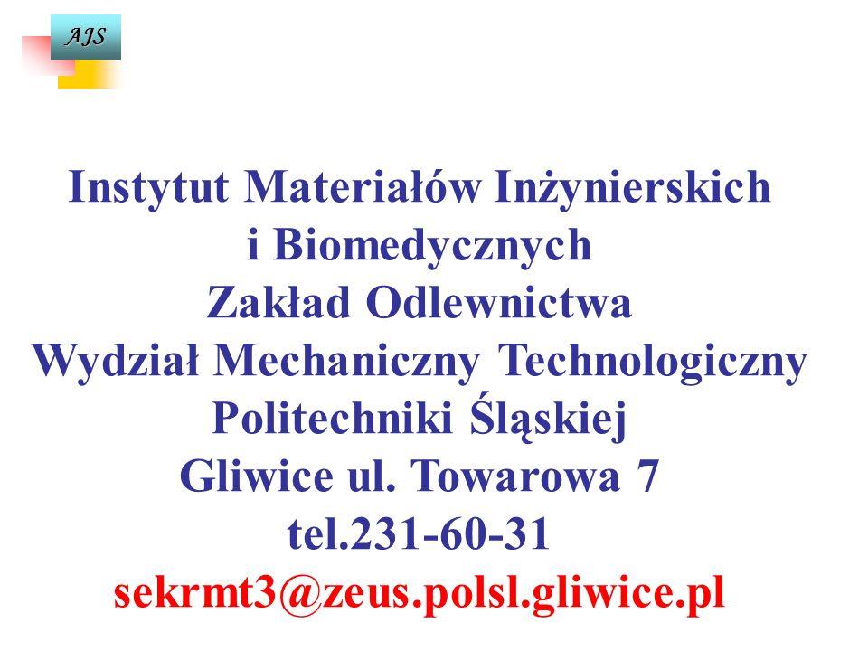 AJS Instytut Materiałów Inżynierskich i Biomedycznych Zakład Odlewnictwa Wydział Mechaniczny Technologiczny Politechniki Śląskiej Gliwice ul.