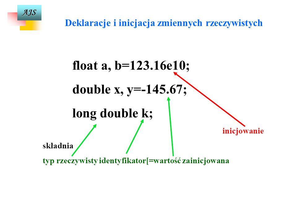 AJS Typy rzeczywiste (skończone, przeliczalne podzbiory zbioru liczb rzeczywistych) Pojęcie znaczących cyfr Liczbę rzeczywistą w pamięci komputera zap