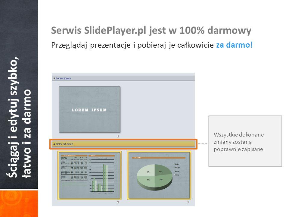 Ściągaj i edytuj szybko, łatwo i za darmo Serwis SlidePlayer.pl jest w 100% darmowy Przeglądaj prezentacje i pobieraj je całkowicie za darmo! Wszystki