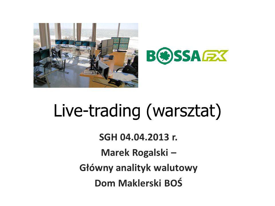 Live-trading (warsztat) SGH 04.04.2013 r. Marek Rogalski – Główny analityk walutowy Dom Maklerski BOŚ