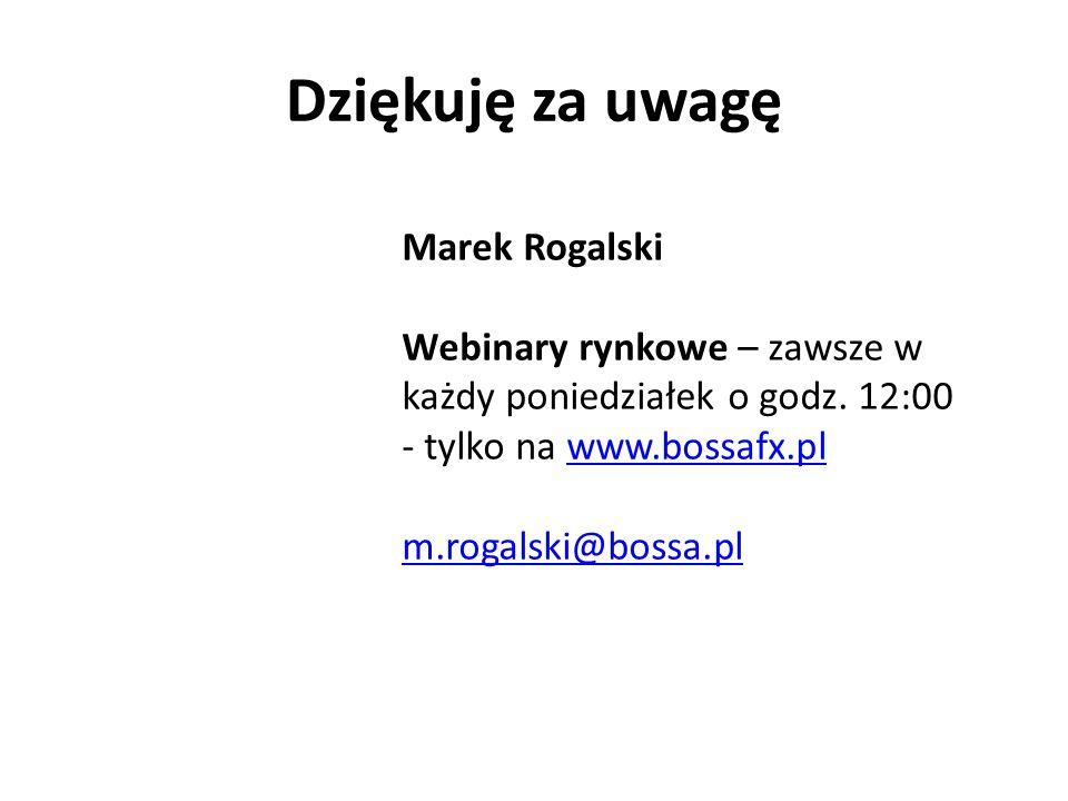 Dziękuję za uwagę Marek Rogalski Webinary rynkowe – zawsze w każdy poniedziałek o godz. 12:00 - tylko na www.bossafx.plwww.bossafx.pl m.rogalski@bossa