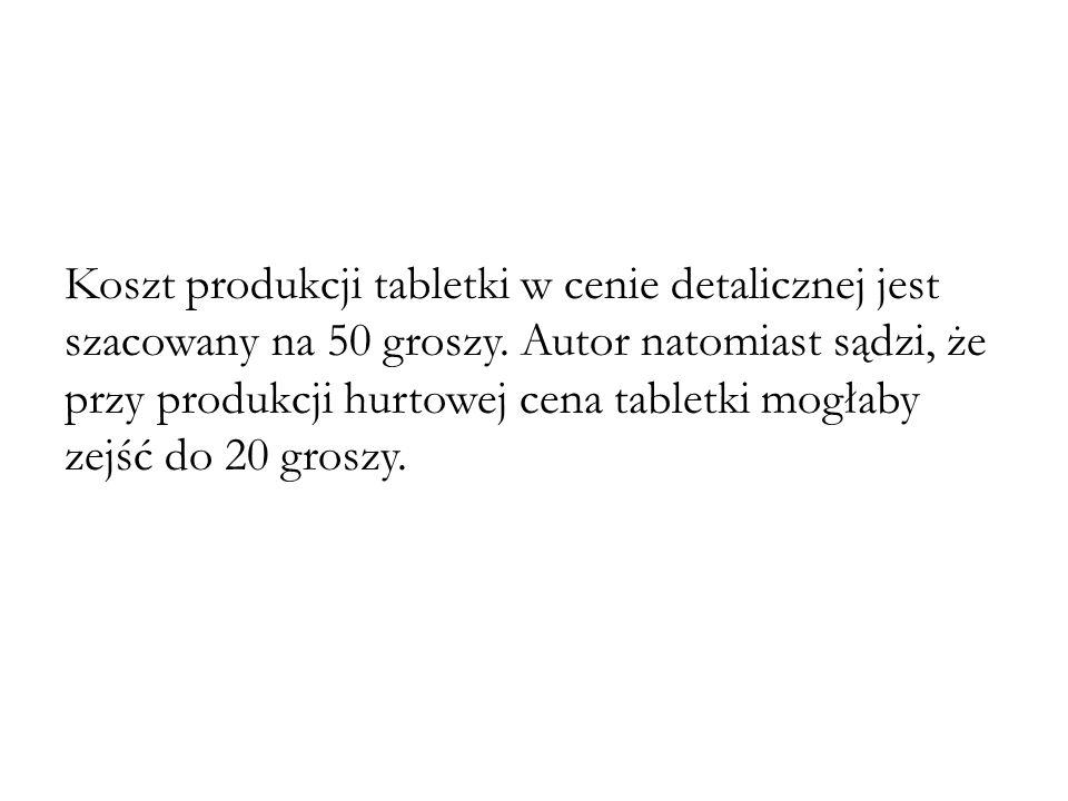 Koszt produkcji tabletki w cenie detalicznej jest szacowany na 50 groszy.