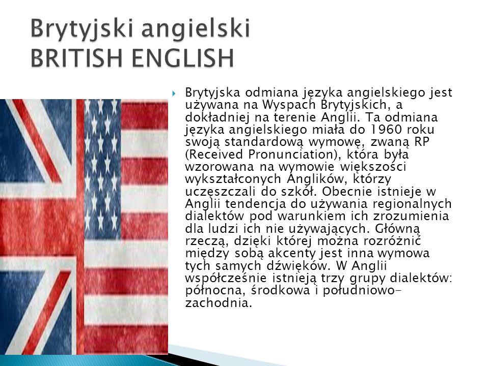 Brytyjska odmiana języka angielskiego jest używana na Wyspach Brytyjskich, a dokładniej na terenie Anglii. Ta odmiana języka angielskiego miała do 196