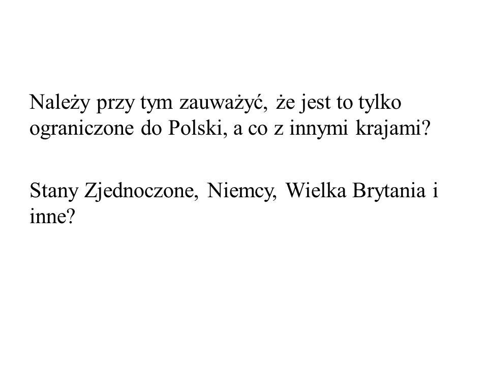 Należy przy tym zauważyć, że jest to tylko ograniczone do Polski, a co z innymi krajami.