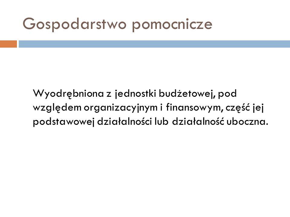 Gospodarstwo pomocnicze Wyodrębniona z jednostki budżetowej, pod względem organizacyjnym i finansowym, część jej podstawowej działalności lub działaln