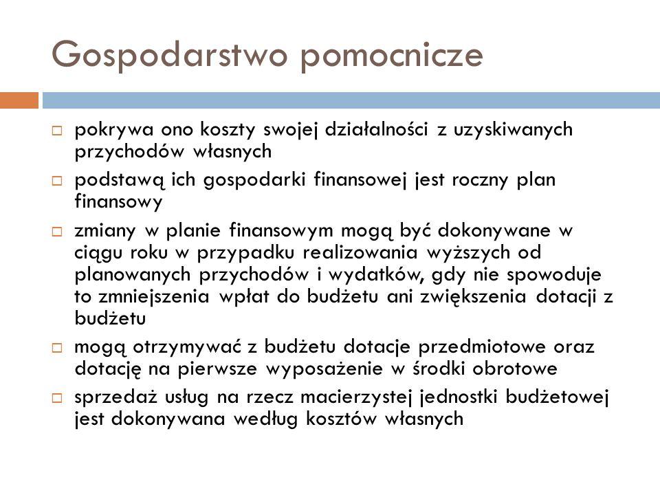 Gospodarstwo pomocnicze pokrywa ono koszty swojej działalności z uzyskiwanych przychodów własnych podstawą ich gospodarki finansowej jest roczny plan