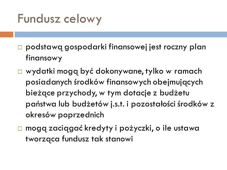 Fundusz celowy podstawą gospodarki finansowej jest roczny plan finansowy wydatki mogą być dokonywane, tylko w ramach posiadanych środków finansowych o