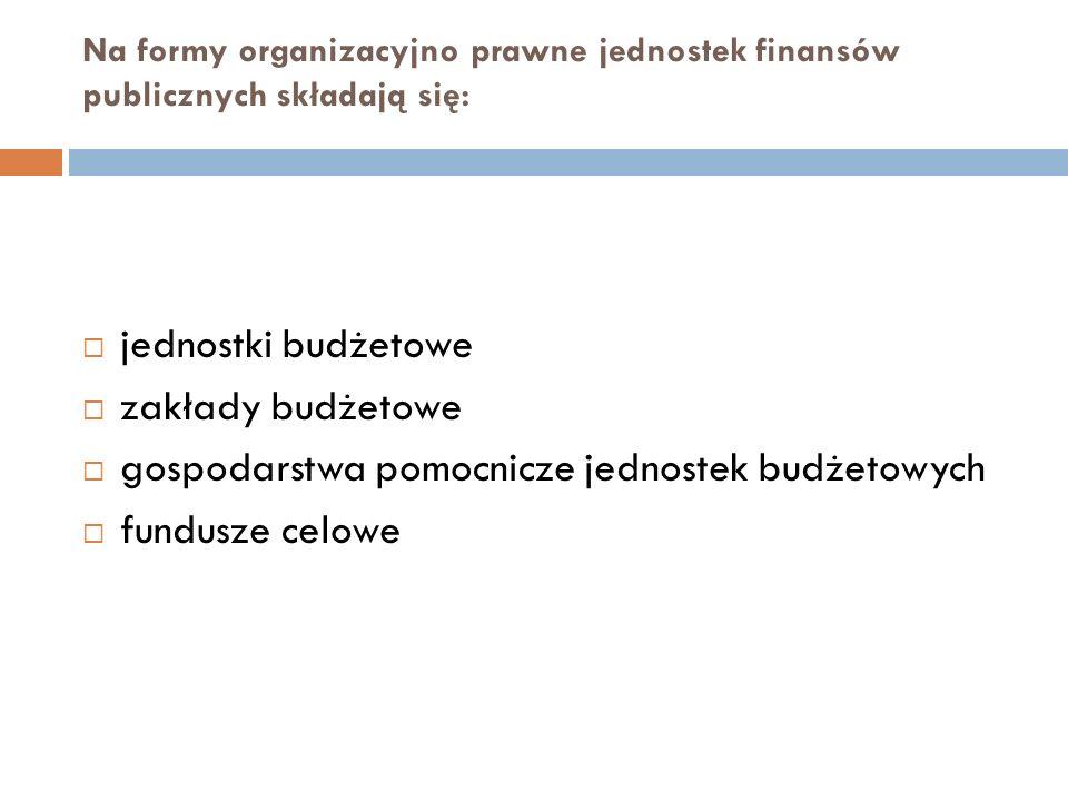 Na formy organizacyjno prawne jednostek finansów publicznych składają się: jednostki budżetowe zakłady budżetowe gospodarstwa pomocnicze jednostek bud