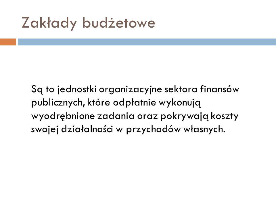 Zakłady budżetowe Podstawą ich gospodarki finansowej jest roczny plan finansowy Zakład budżetowy może otrzymywać z budżetu dotację: przedmiotową podmiotową dotację celową na dofinansowanie kosztów realizacji inwestycji; jednorazowe dotacje z budżetu na pierwsze wyposażenie w środki obrotowe, Kwota dotacji dla zakładu budżetowego (dotacji inwestycyjnych) nie może przekroczyć 50% jego wydatków;