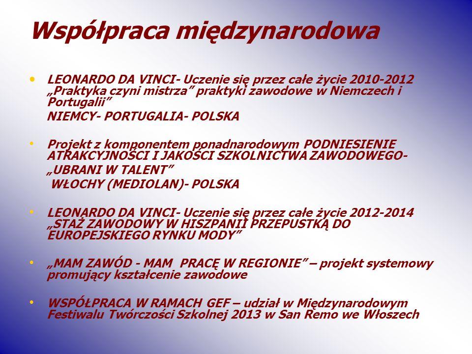 Współpraca międzynarodowa LEONARDO DA VINCI- Uczenie się przez całe życie 2010-2012 Praktyka czyni mistrza praktyki zawodowe w Niemczech i Portugalii