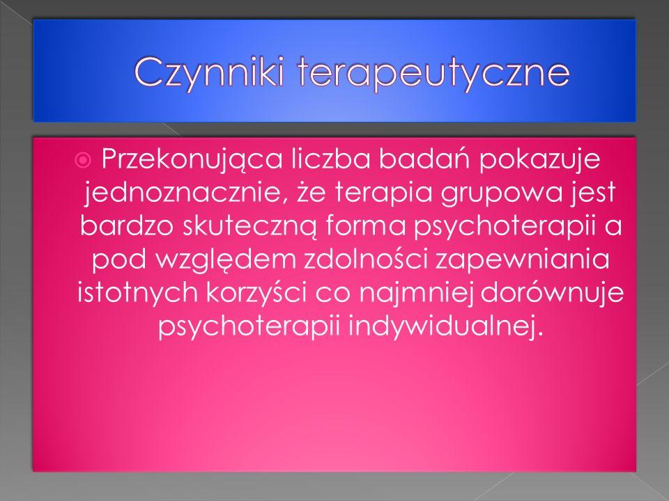 Irvin Yalom autor Psychoterapii grupowej na podstawie swojego doświadczenia wyróżnia 11 czynników terapeutycznych.