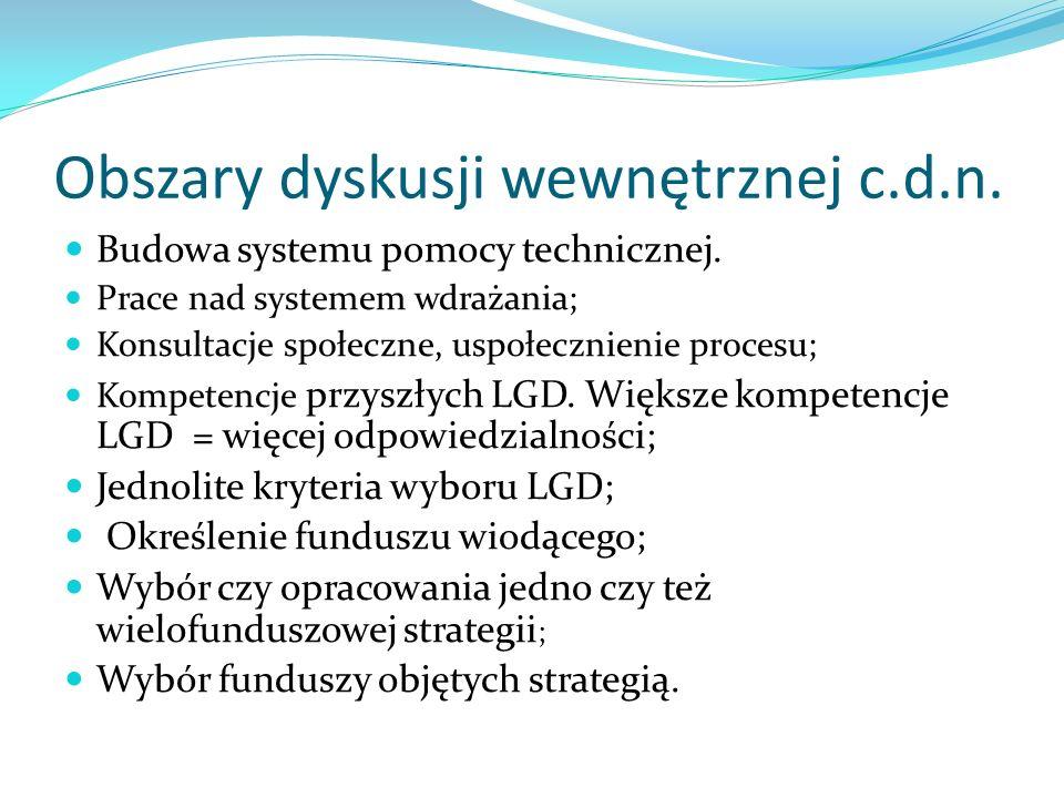 Obszary dyskusji wewnętrznej c.d.n. Budowa systemu pomocy technicznej.