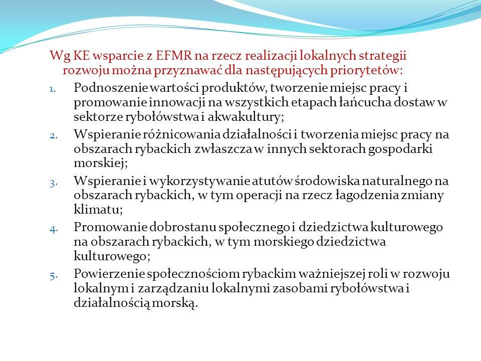 Wg KE wsparcie z EFMR na rzecz realizacji lokalnych strategii rozwoju można przyznawać dla następujących priorytetów: 1.