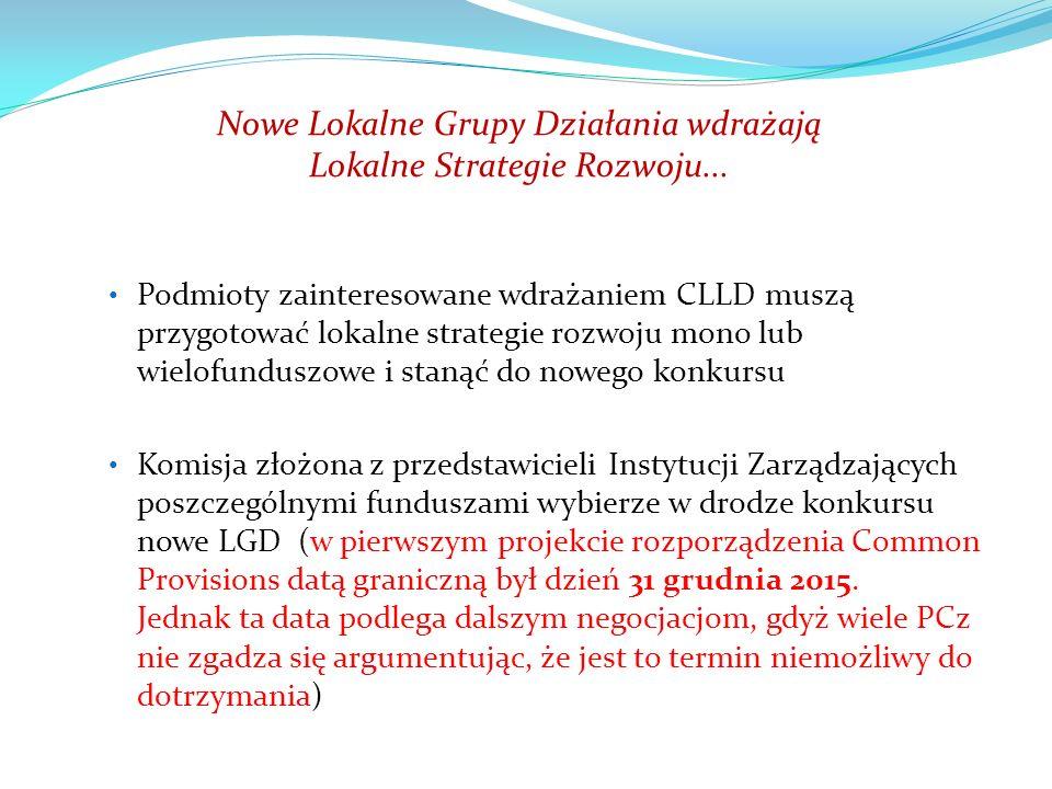 Nowe Lokalne Grupy Działania wdrażają Lokalne Strategie Rozwoju...