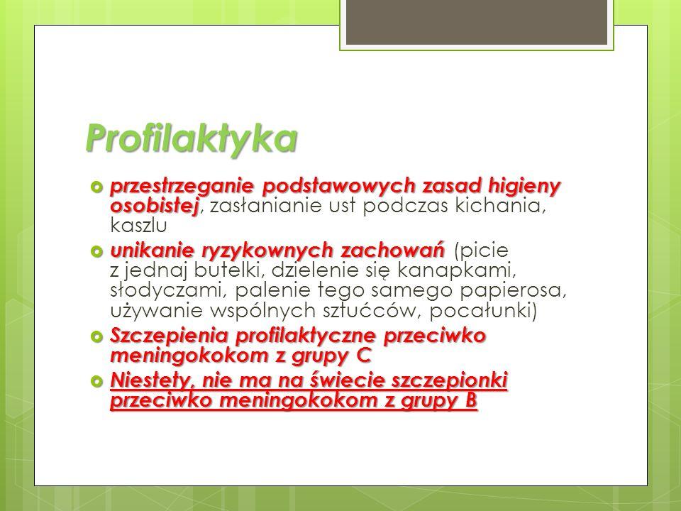 Profilaktyka w naszym gimnazjum Wszystkie klasy na lekcji biologii bądź godzinie wychowawczej obejrzą prezentację przygotowaną specjalnie dla nastolatków, poruszającą zasady profilaktyki w walce z meningokokami