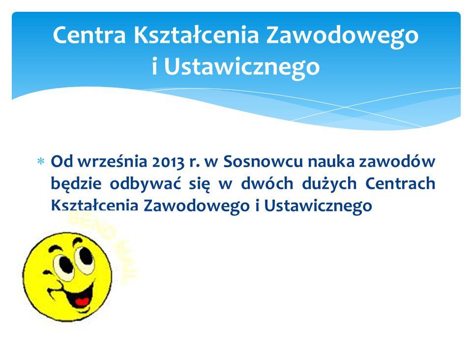 Od września 2013 r. w Sosnowcu nauka zawodów będzie odbywać się w dwóch dużych Centrach Kształcenia Zawodowego i Ustawicznego Centra Kształcenia Zawod