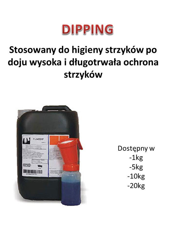 Stosowany do higieny strzyków po doju wysoka i długotrwała ochrona strzyków Dostępny w -1kg -5kg -10kg -20kg