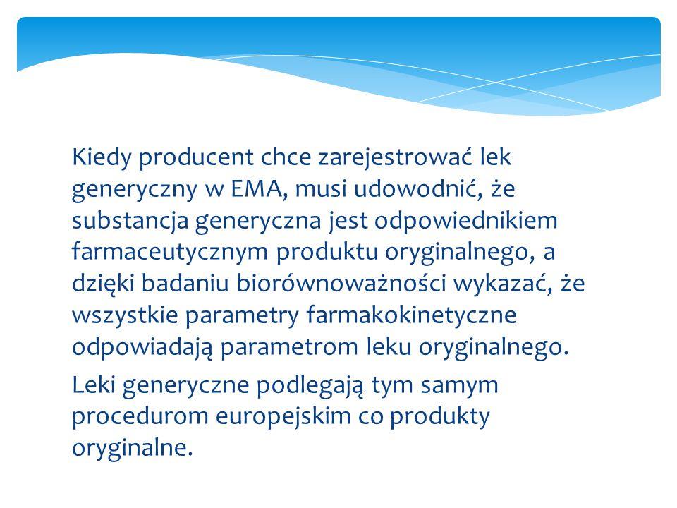 Kiedy producent chce zarejestrować lek generyczny w EMA, musi udowodnić, że substancja generyczna jest odpowiednikiem farmaceutycznym produktu oryginalnego, a dzięki badaniu biorównoważności wykazać, że wszystkie parametry farmakokinetyczne odpowiadają parametrom leku oryginalnego.