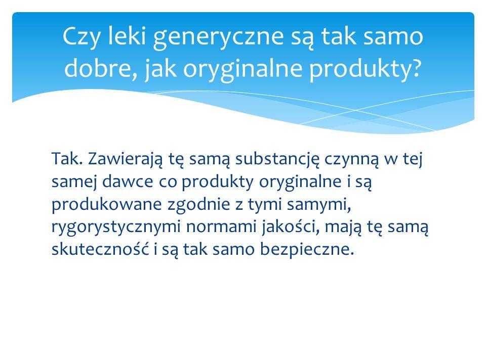 Tak. Zawierają tę samą substancję czynną w tej samej dawce co produkty oryginalne i są produkowane zgodnie z tymi samymi, rygorystycznymi normami jako