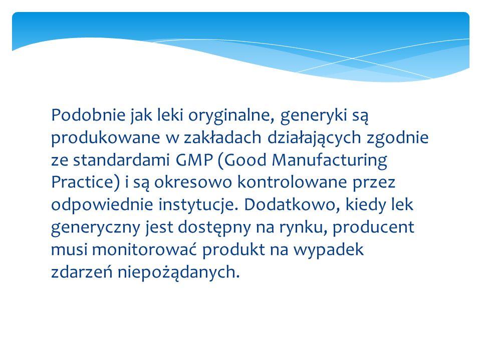 Podobnie jak leki oryginalne, generyki są produkowane w zakładach działających zgodnie ze standardami GMP (Good Manufacturing Practice) i są okresowo