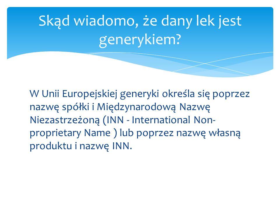 Skąd wiadomo, że dany lek jest generykiem? W Unii Europejskiej generyki określa się poprzez nazwę spółki i Międzynarodową Nazwę Niezastrzeżoną (INN -
