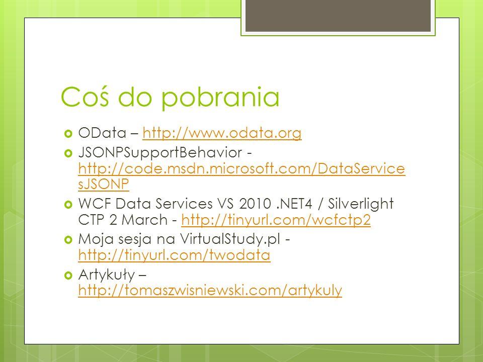 Coś do pobrania OData – http://www.odata.orghttp://www.odata.org JSONPSupportBehavior - http://code.msdn.microsoft.com/DataService sJSONP http://code.
