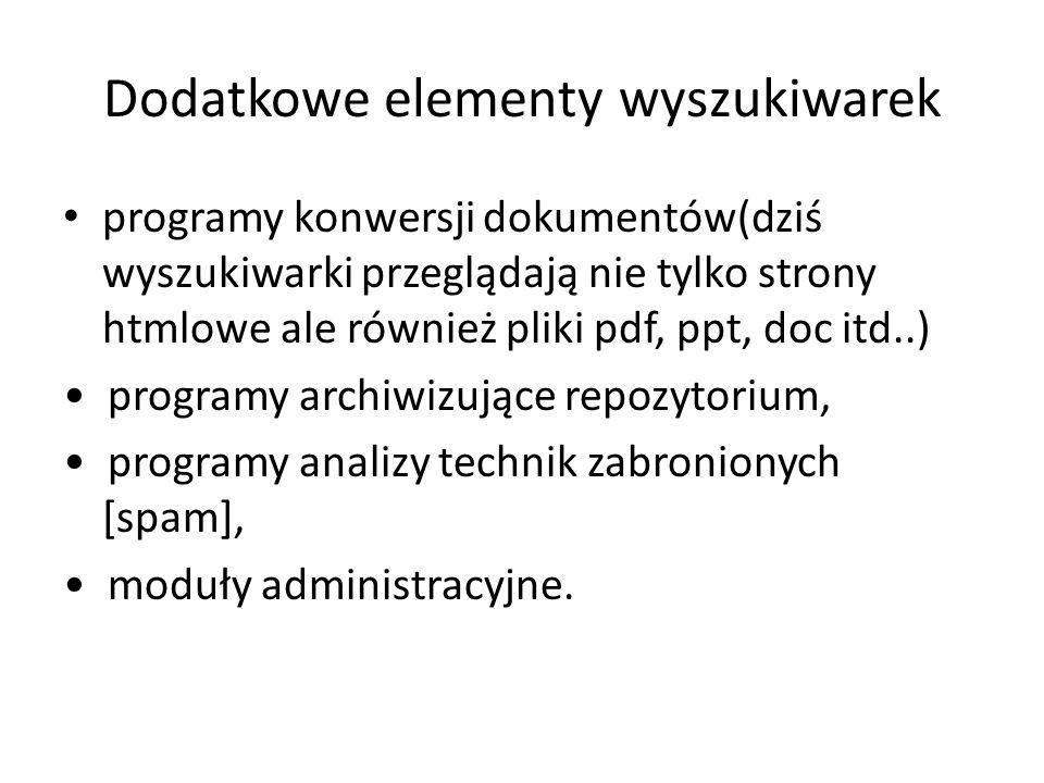 Dodatkowe elementy wyszukiwarek programy konwersji dokumentów(dziś wyszukiwarki przeglądają nie tylko strony htmlowe ale również pliki pdf, ppt, doc i