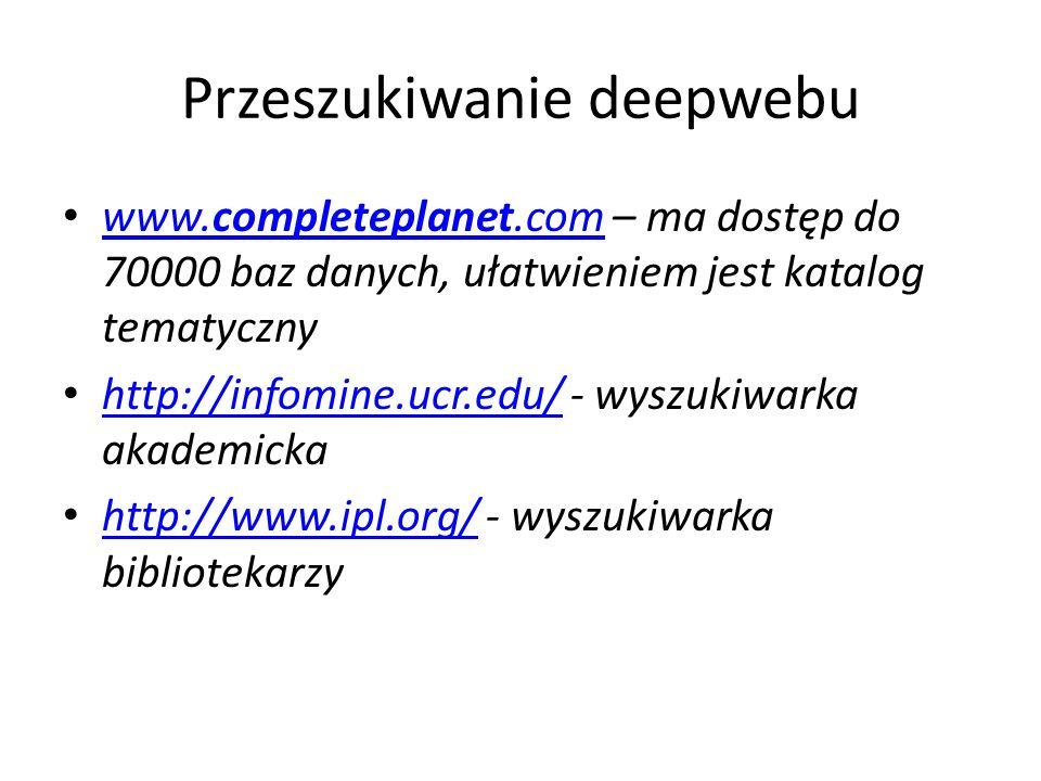 Przeszukiwanie deepwebu www.completeplanet.com – ma dostęp do 70000 baz danych, ułatwieniem jest katalog tematyczny www.completeplanet.com http://info