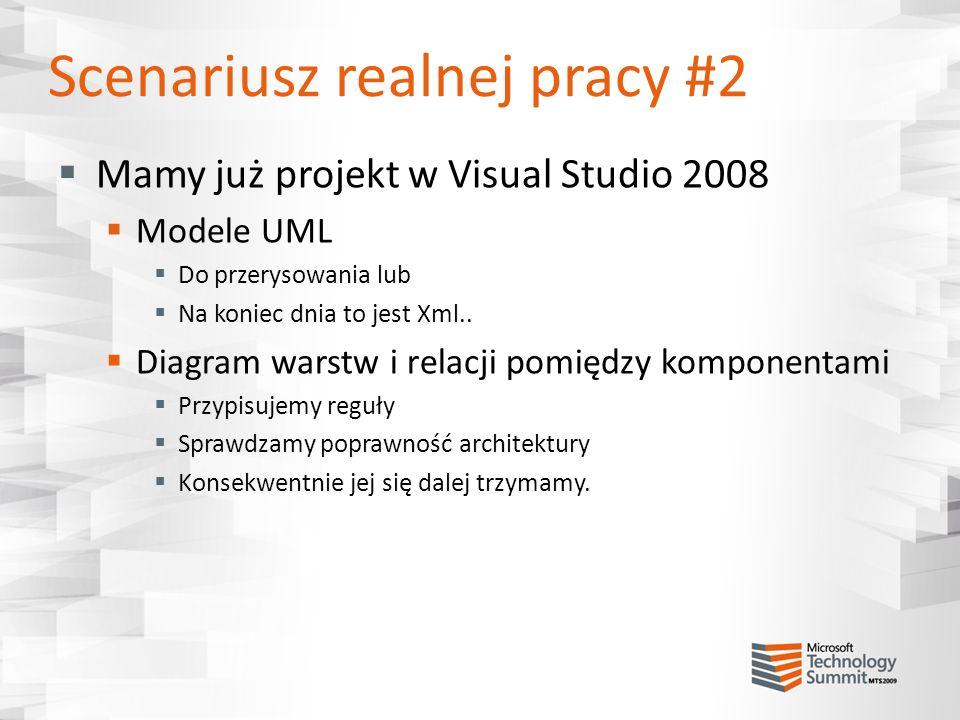 Scenariusz realnej pracy #2 Mamy już projekt w Visual Studio 2008 Modele UML Do przerysowania lub Na koniec dnia to jest Xml.. Diagram warstw i relacj