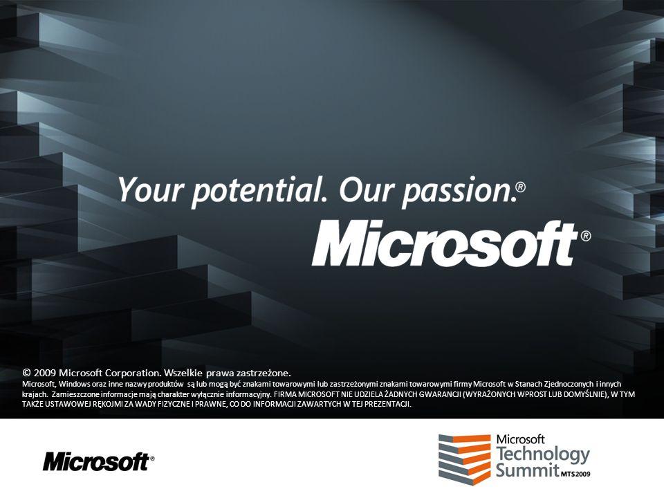 © 2009 Microsoft Corporation. Wszelkie prawa zastrzeżone. Microsoft, Windows oraz inne nazwy produktów są lub mogą być znakami towarowymi lub zastrzeż