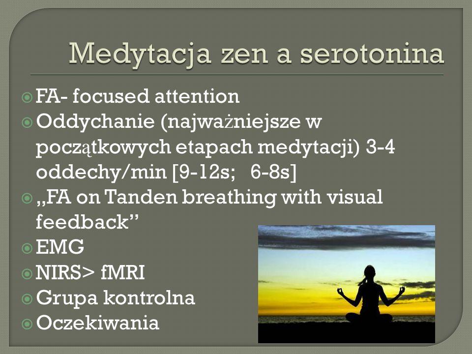 FA- focused attention Oddychanie (najwa ż niejsze w pocz ą tkowych etapach medytacji) 3-4 oddechy/min [9-12s; 6-8s] FA on Tanden breathing with visual