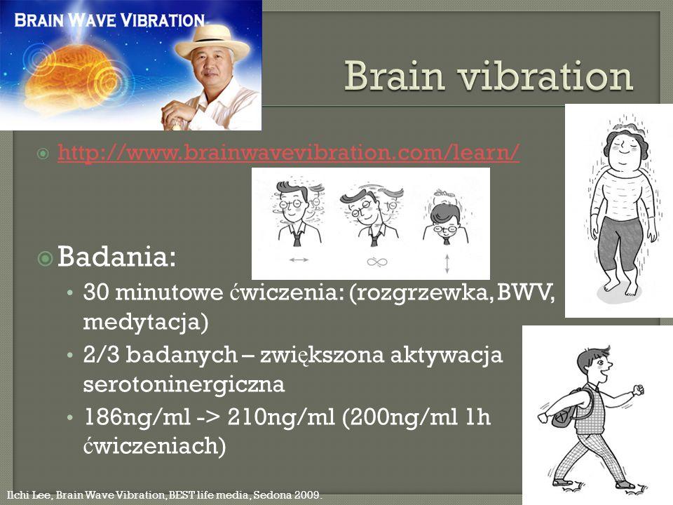 http://www.brainwavevibration.com/learn/ Badania: 30 minutowe ć wiczenia: (rozgrzewka, BWV, medytacja) 2/3 badanych – zwi ę kszona aktywacja serotonin