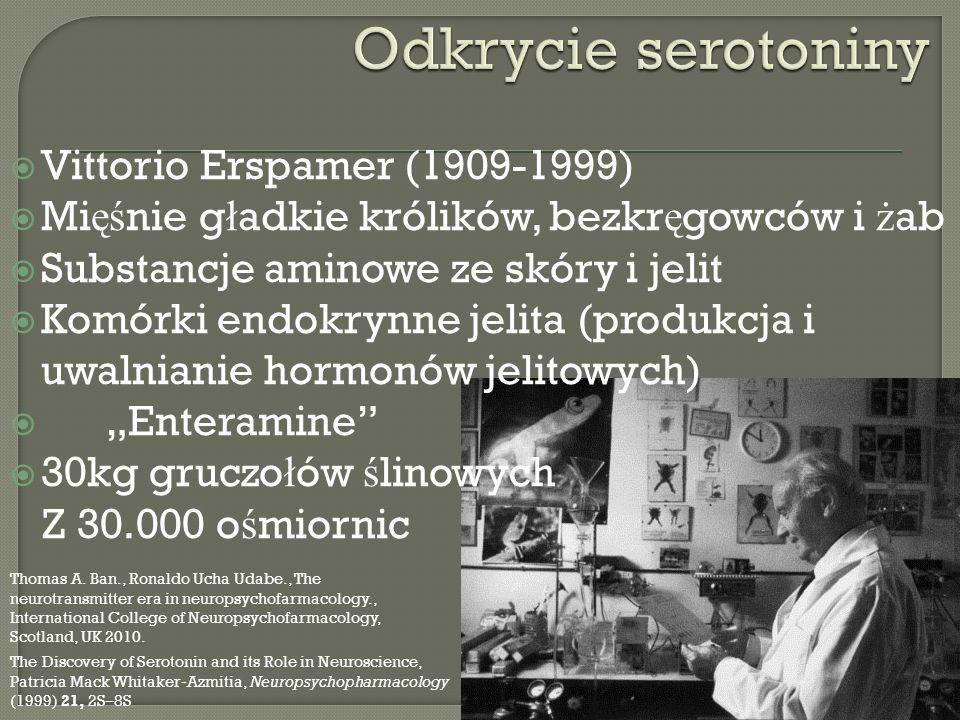 Vittorio Erspamer (1909-1999) Mi ęś nie g ł adkie królików, bezkr ę gowców i ż ab Substancje aminowe ze skóry i jelit Komórki endokrynne jelita (produ