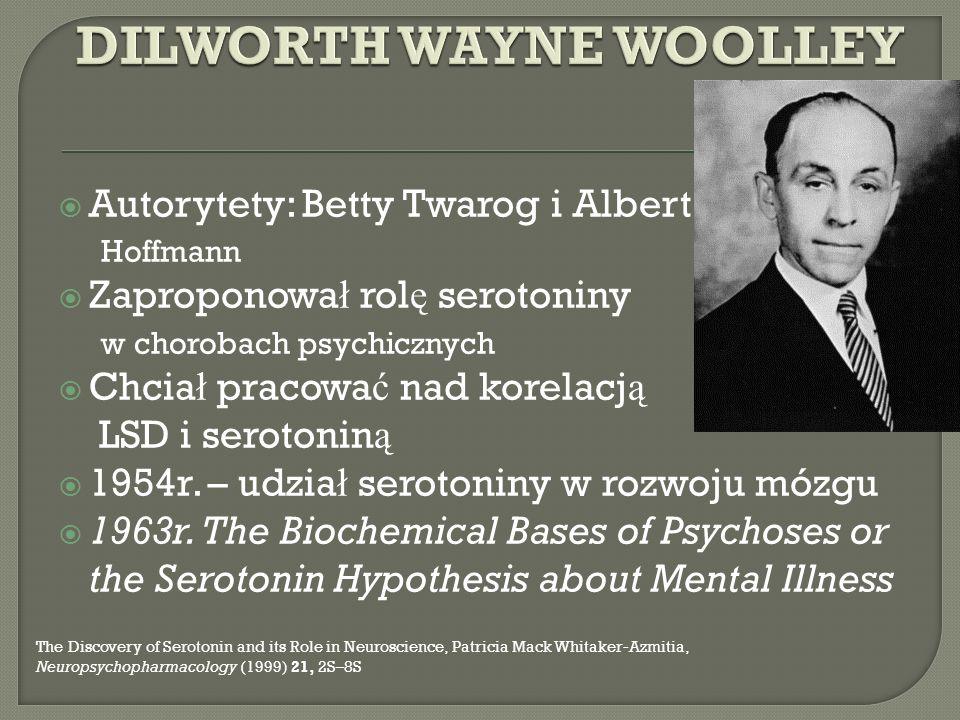 Autorytety: Betty Twarog i Albert Hoffmann Zaproponowa ł rol ę serotoniny w chorobach psychicznych Chcia ł pracowa ć nad korelacj ą LSD i serotonin ą