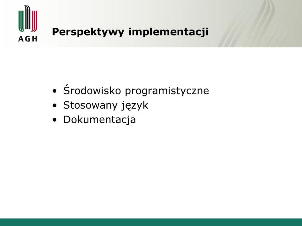 Perspektywy implementacji Środowisko programistyczne Stosowany język Dokumentacja