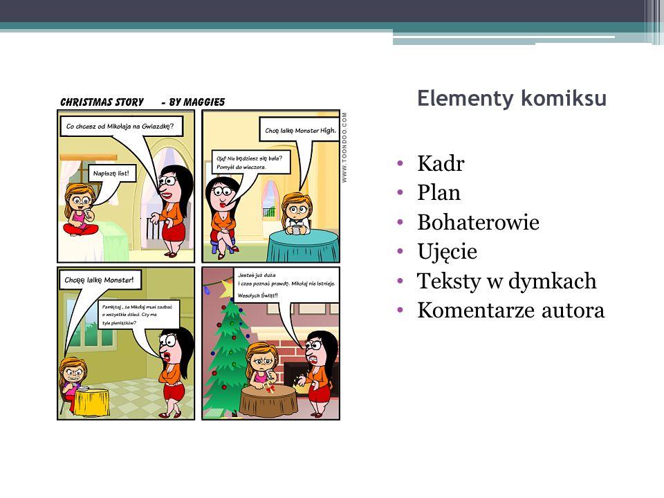 Elementy komiksu Kadr Plan Bohaterowie Ujęcie Teksty w dymkach Komentarze autora