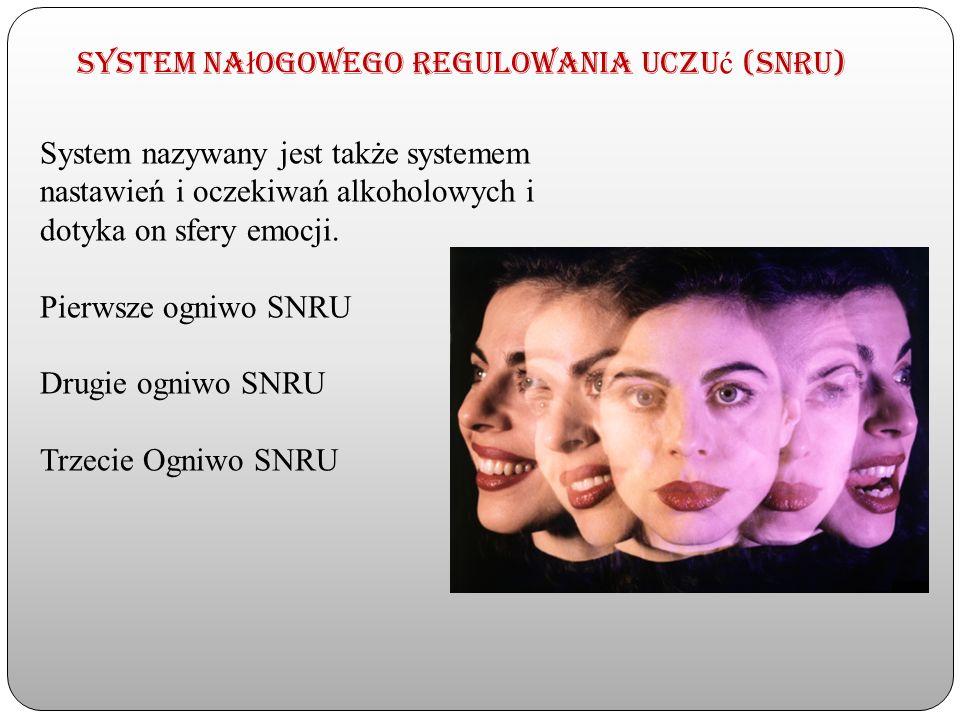 System na ł ogowego regulowania uczu ć (SNRU) System nazywany jest także systemem nastawień i oczekiwań alkoholowych i dotyka on sfery emocji. Pierwsz