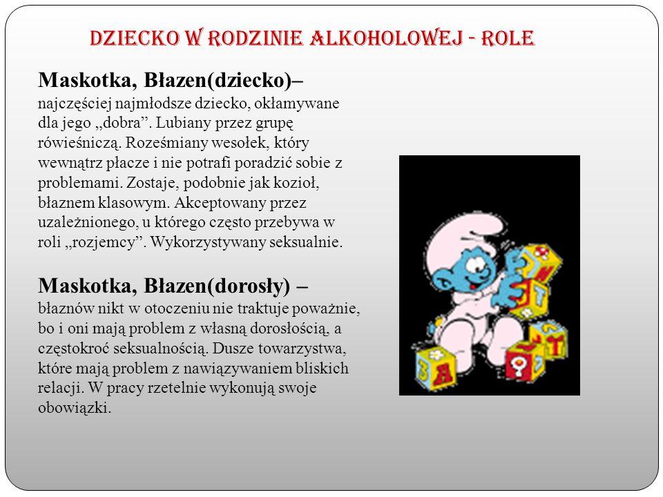 Dziecko w rodzinie alkoholowej - Role Maskotka, Błazen(dziecko)– najczęściej najmłodsze dziecko, okłamywane dla jego dobra. Lubiany przez grupę rówieś