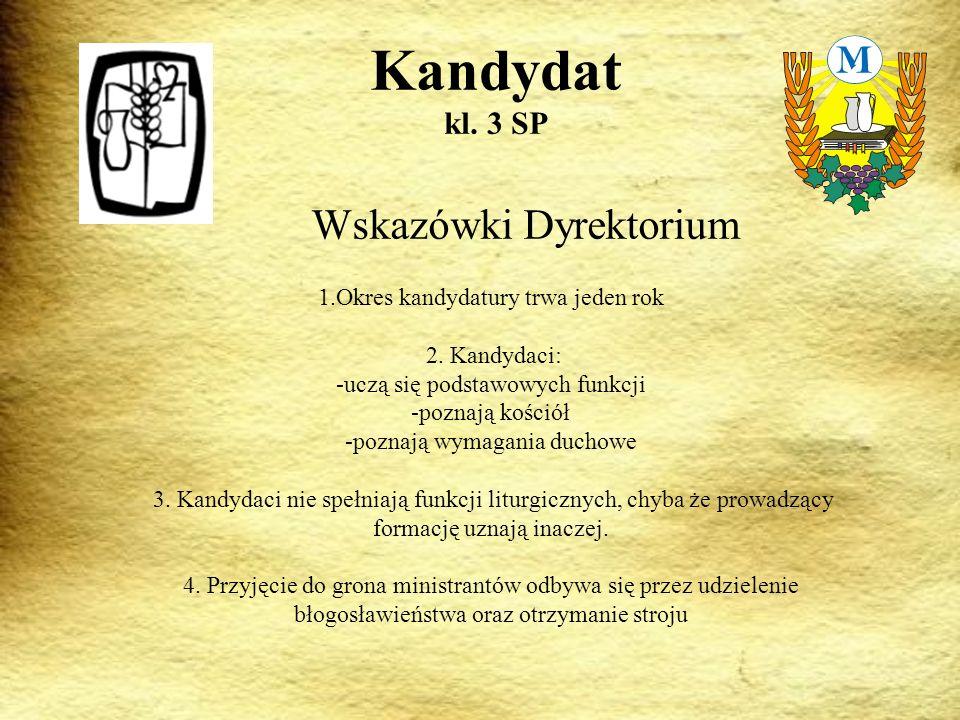 Wskazówki Dyrektorium Kandydat kl.3 SP 1.Okres kandydatury trwa jeden rok 2.