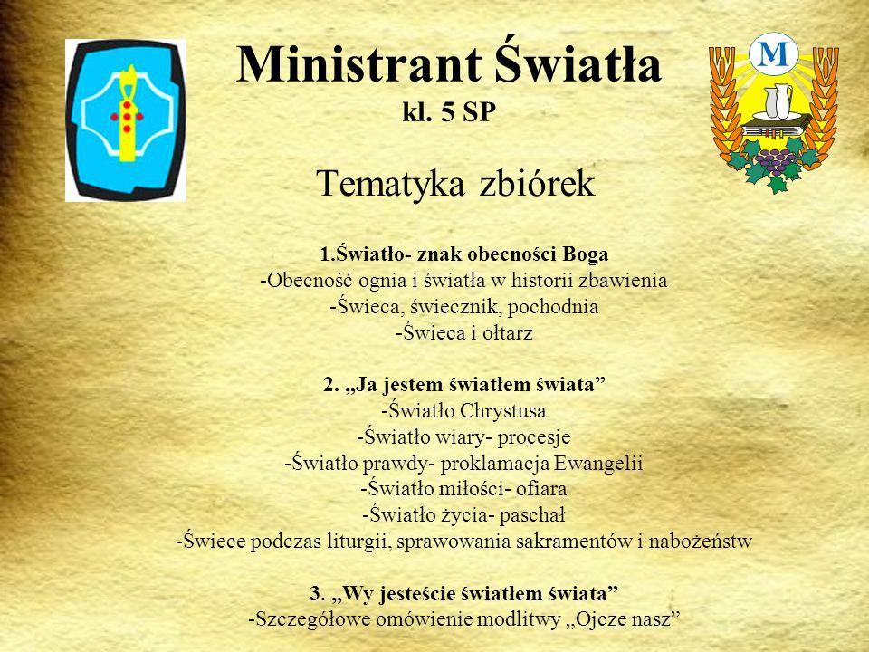 Tematyka zbiórek Ministrant Światła kl.