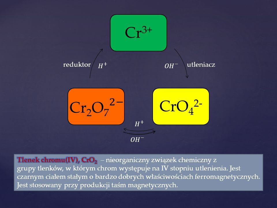 Cr 3+ CrO4 2- utleniaczreduktor