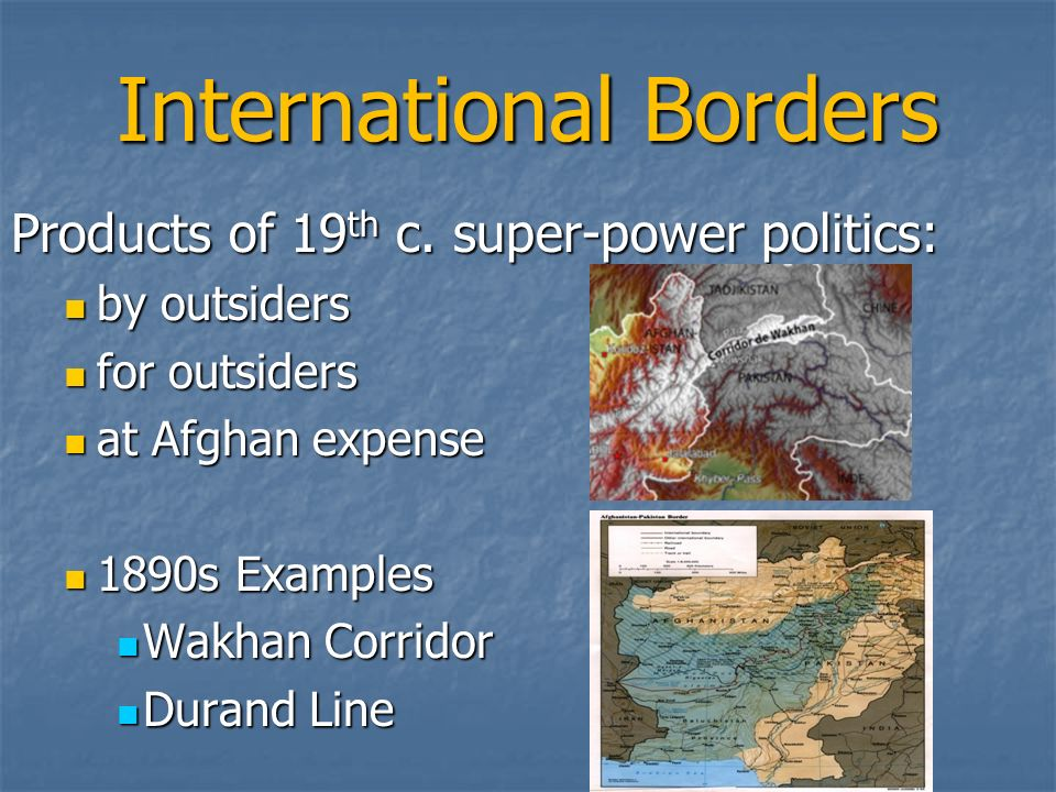 International Borders Products of 19 th c.
