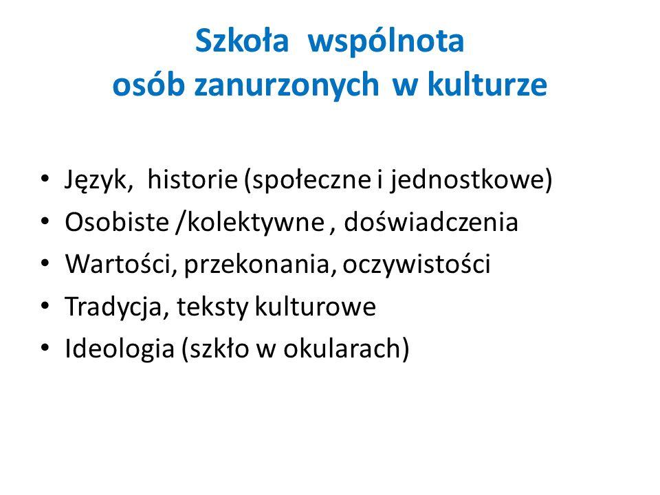 Szkoła wspólnota osób zanurzonych w kulturze Język, historie (społeczne i jednostkowe) Osobiste /kolektywne, doświadczenia Wartości, przekonania, oczywistości Tradycja, teksty kulturowe Ideologia (szkło w okularach)