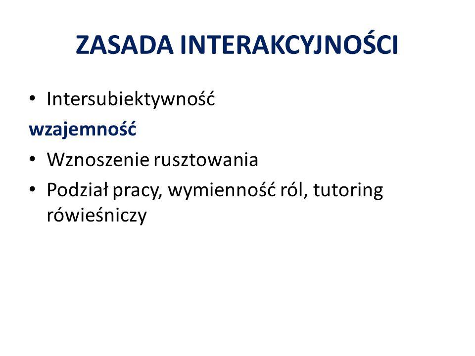 ZASADA INTERAKCYJNOŚCI Intersubiektywność wzajemność Wznoszenie rusztowania Podział pracy, wymienność ról, tutoring rówieśniczy